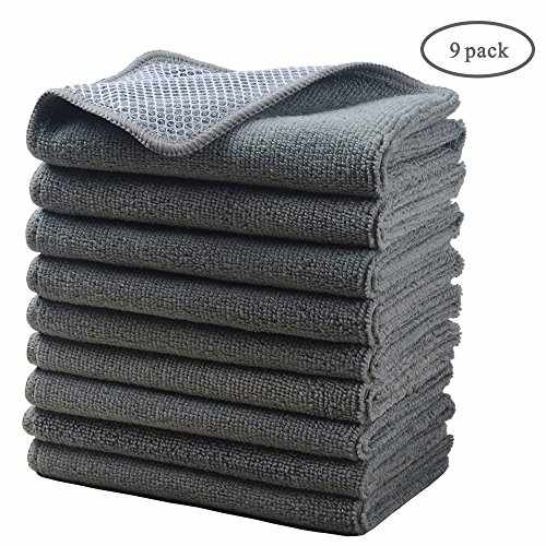 8f820f04986cf Microfiber Dish Cloths Super Absorbent Kitchen Wash cloth Dish Rags for Washing  Dishes Fast Drying Cleaning Cloth With Scrub Side Greyx9